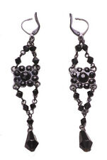 Gothic Black & Diamante Encrusted Easy Close Metal Earrings(A13/zx235)