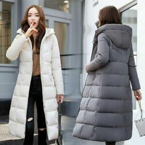 Womens Down Cotton Overcoat Hooded Long Coat Winter Warm Parka Jacket Outwear