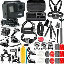 GoPro Hero 7 Black with 50 Piece Action Accessory Kit - Straps - Harnesses -