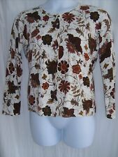 Classic Elements Size L Ivory, Red & Brown Cardigan