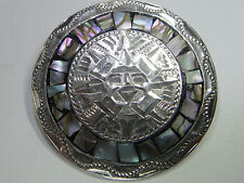 Sterling Silver & Abalone Calendar Brooch Pendant  Mexico 925 Taxco Eagle 4