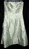 Ann Taylor Lime  Silk Brocade Dress w/ Bones Detachable Straps Sz 4 NWT Org $188