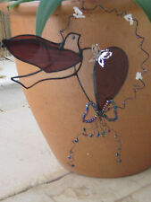 leadlight suncatcher - stained glass - dove and heart