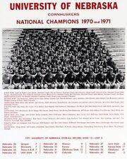 Nebraska Cornhuskers 1971 National Champions, 8x10 B&W Team Photo