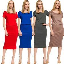 Kleid Knielang Top Sommerkleid in 4 Farben Gr. S M L XL, 36 38 40 42