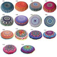 Round Pillows Case Mandala Geometric Meditation Floor Cushion Cover Multi-style