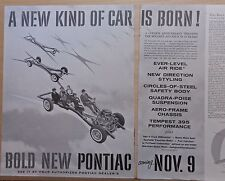 1957 1 1/2 page magazine ad for Pontiac - chassis flies through air, 50 years