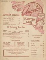 Vintage ANGELO'S FOUNTAIN GRILL Restaurant Menu, Los Angeles California 1950