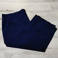 Kim Rogers Capri Pants Women's Size 2X Solid Navy Blue Elastic Stretch Waist