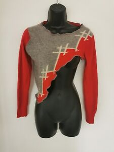LADIES 100% CASHMERE QUIRKY ASYMMETRIC HAND LAID INTARSIA REWORKED JUMPER. XS