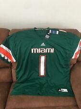 Adidas Miami Hurricanes U/M Ncaa Football Green Sewn Jersey NWT Size 3XL  Men