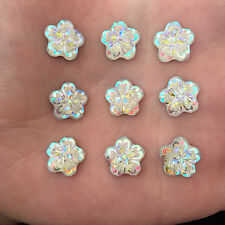 30PCS AB Resin flower FlatBack flower Rhinestone Appliques wedding craft Buttons