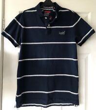 Camisa para hombre Azul Marino/Gris/Blanco De Rayas Camisa Polo UK Tamaño L