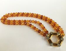 Givenchy Bijoux Vintage 1980 Amber Crystal Bead Necklace Perfect Condition