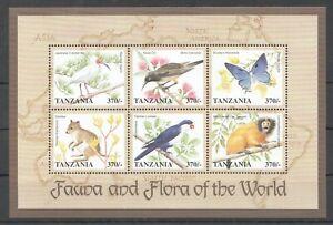 PK162 TANZANIA FAUNA & FLORA WORLD ANIMALS BIRDS BUTTERFLIES KB MNH STAMPS
