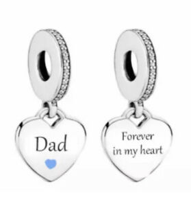 DAD MEMORIAL CHARM FOREVER IN MY HEART GENUINE 925 STERLING SILVER GIFT 💜💛💜