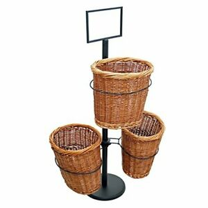 3 Oval Willow Basket Display with Sign Frame and Sign Clips