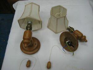 Pair of Bespoke Oak Wall Mount Lamps