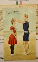1903 ANTIQUE NEWFOUNDLAND POST CARD STAMP - BEAUTIFUL BEACH ILLUSTRATION COUPLE