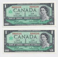 2 X Sequential 1967 $1 Bank of Canada Centennial Series  - AU/UNC