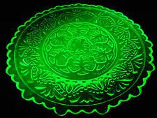 Green Vaseline glass plate uranium Flower floral cup saucer childs tea set neon