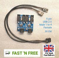 Motherboard USB 9Pin Header 1 to 4 Splitter Port Multiplier 30cm Extension Cable