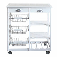 Kitchen Island Cart on Wheels , Home Table Storage Rack Trolley Cart w/Drawers