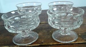 Set of 4 Indiana Glass Crystal King's Crown Thumbprint Dessert Sherbet Dishes
