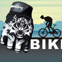 Cycling Bike Fitness Sports Cool Antiskid Fingerless Breathable Wolf Head Gloves