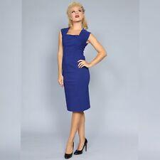Bettie Page $200, Size Medium, Ella Blue Wiggle Pencil Pinup Stretch Dress