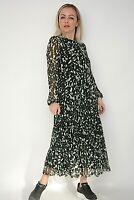 New Womens Ex Principles Green Camo Mesh Tiered High Neck Midi Dress Sizes 10-24