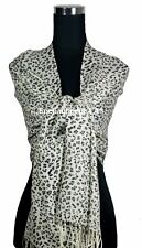 Stunning 2-Ply Pure Cashmere Pashmina Leopard Shawl Wrap Scarf, Black/Off White