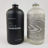 Glass Bottles Black Gray Coffee Liquid Screw Cap Frosted Minimalist Log Cabin