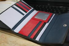 Golunski leather wallet purse. trifold, practical Black navy red grey. Exc cond