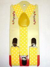 NEW Boys Girls Baby Kids Child Yellow Polka Dot Clip on Elastic Suspender