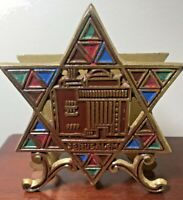 Judaica multi-color painted Heavy metal Star of David Napkin Holder 12cms T x 10