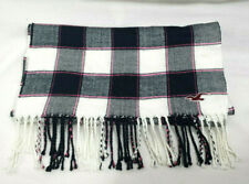 Hollister California Scarf Plaid Check Navy Blue White Pink Long 70 in Fringed