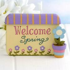 "Blossom Bucket Figurine Sign ""Welcome Spring"" with Flowers Mother's Day"