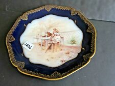 12 inch Limoges Handing Plate Cobalt Blue Band Scene of Relaxing Couple