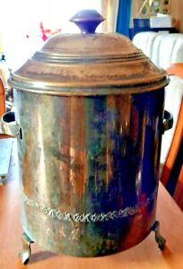 Antique Brass Tri-Footed, Lidded Coal Log Fireside Box With Original Liner