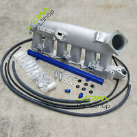 Cast Aluminum Intake Manifold Plenum with Fuel Rail for Nissan R33 R34 RB25 BU