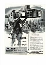 VINTAGE 1946 ALLIED STRUCTURAL STEEL GIANT HOLDING STRUCTURE AD PRINT