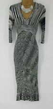 KAREN MILLEN 8 UK KM SIZE 1 Black grey Zig Zag Knit Croche Midi Cocktail Dress
