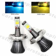 2x Dual Color H4 LED Bulb Car Fog Light Lamp DRL Driving Yellow Ice Blue 180W