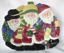 Figural Santa Claus Serving Dish Christmas Emboss 3D Cookie Candy Plate Platter