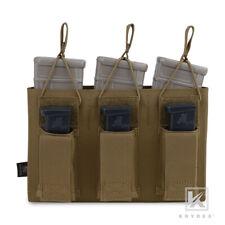 Krydex Triple Open Top 5.56 & 9mm Pistol Magazine Mag PouchMolle Coyote Brown W