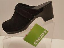 Crocs Black Suede Mules Clogs Slip On Slides 203415 Women's Size 8