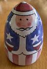 Columbia Falls Maine Pottery Patriotic Christmas Santa Figurine USA Unique