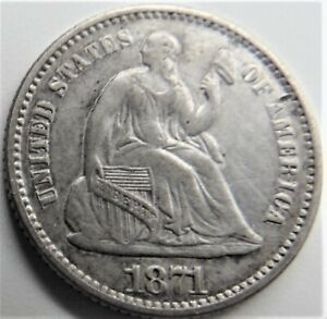 1871 UNITED STATES, Seated Liberty Half Dime grading EXTRA FINE or Better.