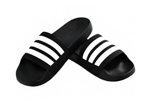 adidas Adilette Comfort Slides Black Men's Beach Slippers White Stripes - AP9971